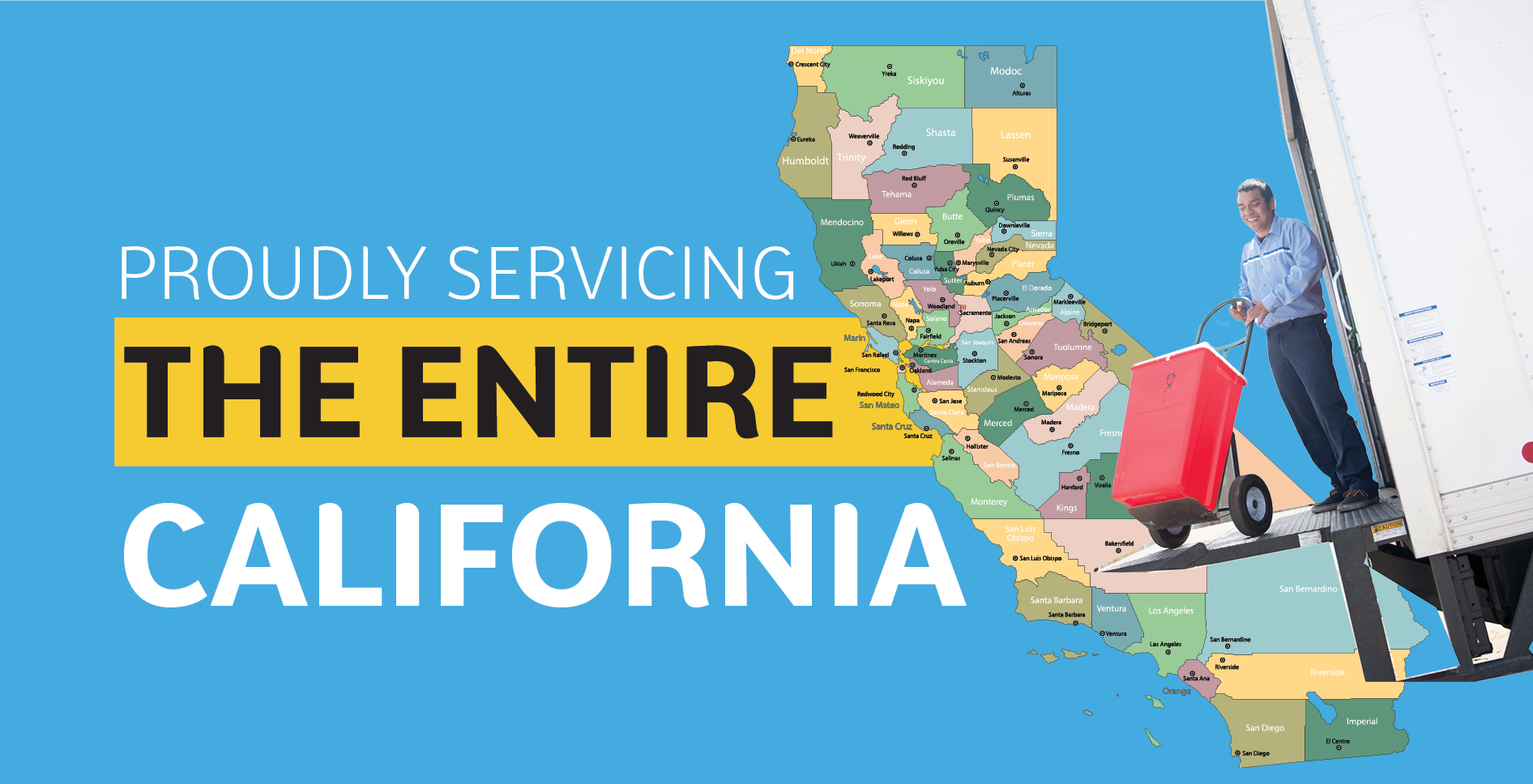 "An map of California, with counties outlined, with a man loading medical waste onto a truck, and that reads ""Proudly Servicing The Entire California"""