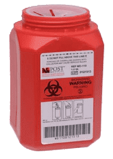 a 1 quart red sharps container