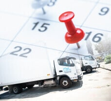 A medical waste disposal truck and a calendar