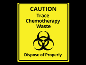 A yellow trace chemotherapy waste sign with a biohazard symbol