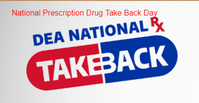 a sign declaring the national prescription drug take back day