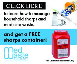 A banner that reads: Click here to manage household sharps and medicine waste. And get a free sharps container!