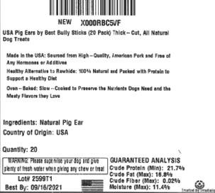 Example Product label – 20 pack