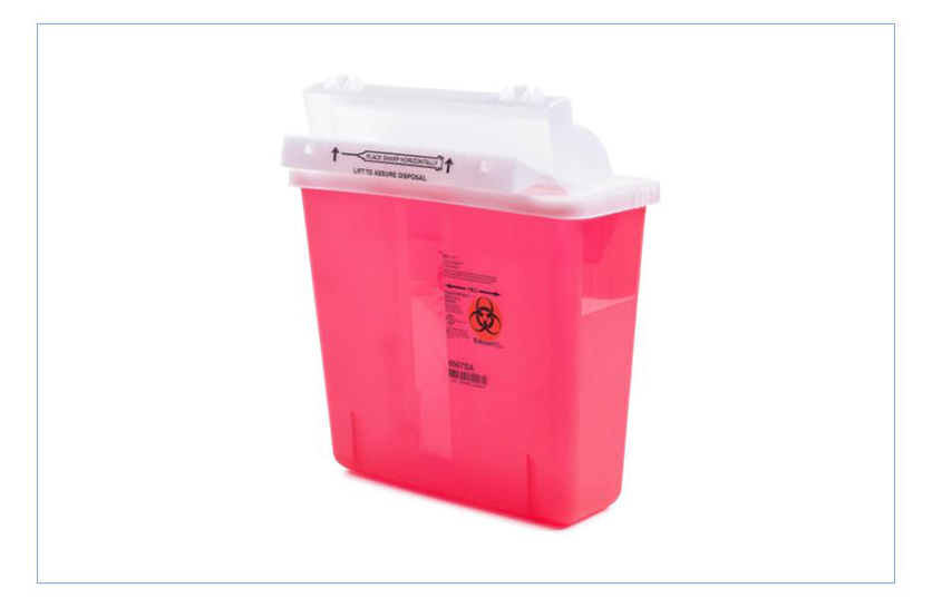 5 quart sharps container with a mailbox style lid